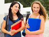 Two beautiful teenage students