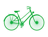 Silhouette of vintage bicycle in green design