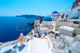 Beautiful White Village Of Oia In Santorini, Greece