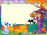 Autumn frame with Halloween theme 6