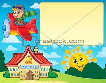Frame with airplane and school
