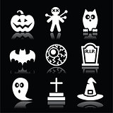 Halloween black icons set - pumpkin, witch, ghost on black