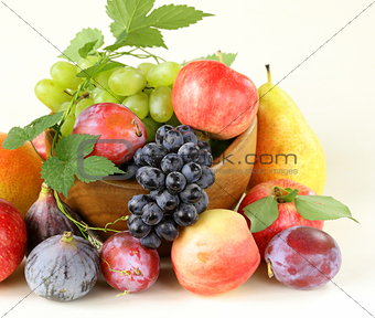 assortment autumn harvest fruit (grapes, figs, apples, plums)