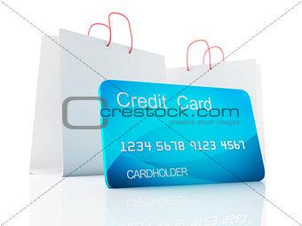 3d credit cart. shopping concept