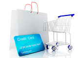 3d credit cart. shopping concept