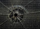 Bullet hole through glass