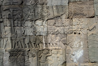 Carved wall in Cambodia