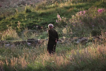 Old man in Alpine meadows