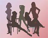 Girls dancing with chairs - vector