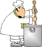 Chef stirring a large pot
