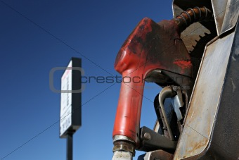 gas pump with sign