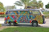 Hippie van with graffiti