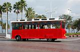 Red sightseeing trolley