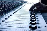 Mixing desk - blue hue