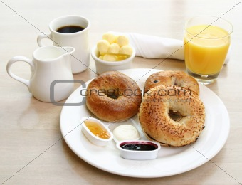 Breakfast Series - Bagels, toast, butter and orange juice