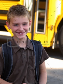 boy and school bus