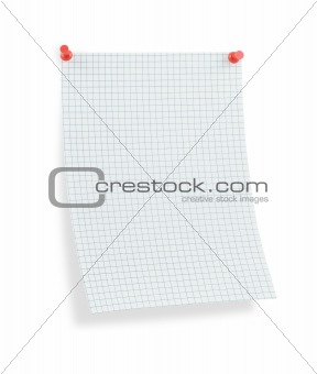 blank thumbtacked squared paper page with shadow