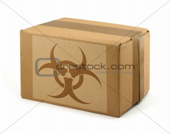 cardboard box with Biohazard Symbol