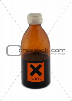 small glass bottle with harmful sign