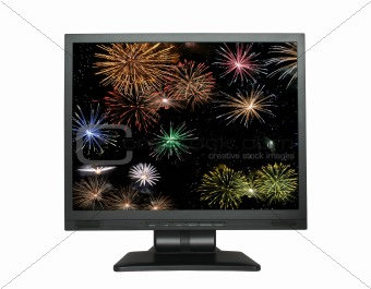 LCD screen with fireworks on white