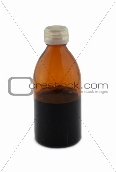 small glass bottle on white