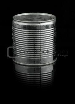 food tin can on black