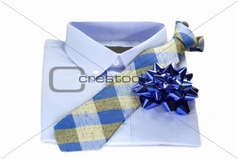 Blue shirt with a tie