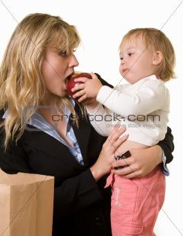 Baby feeding mom