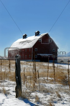 Blowing Snow and barn