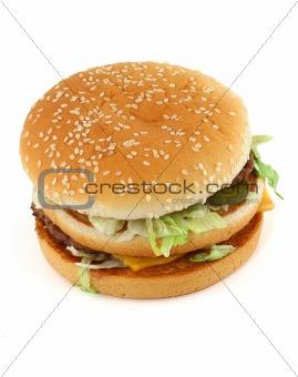appetizing hamburger on white