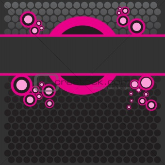 Bright colored pink banner with retro halftone dots