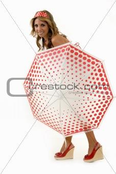 Posing with an umbrella