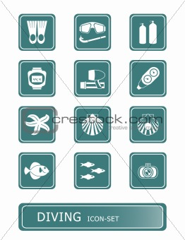 scuba diving icon-set