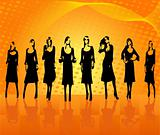 Fashion girls  vector silhouettes