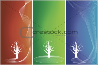 Three versions of floral tree backgrounds with butterflies