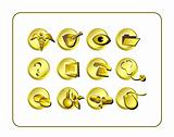 Medical & Pharmacy Icon Set, Golden.