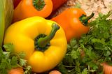 yellow paprika and vegetables