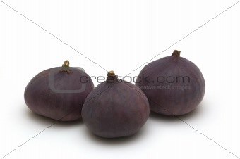 three figs on white background
