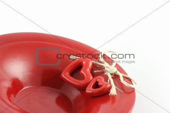 hearts on red plate