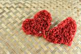hearts with wool
