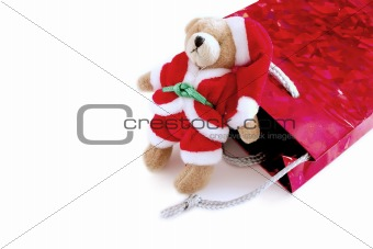 santa teddy with his gift bag