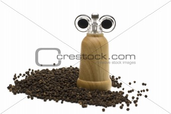 black pepper on white background