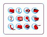 Icon Set Golden - Red-Blue
