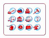 Legal Icon Set - Red-Blue
