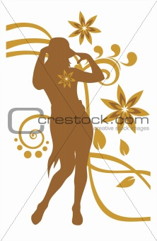 girl and bronze flower pattern
