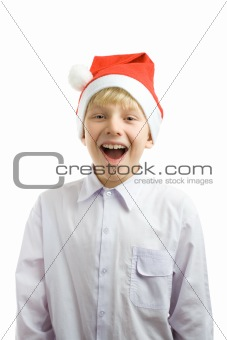 Christmas boy in a red hat