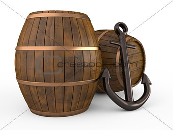 Anchor and barrels, 3D