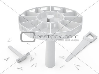 Tower and tools, 3D