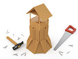 Wooden tower and tools, 3D