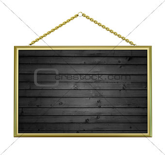 close up of a wooden sign with chain on white background